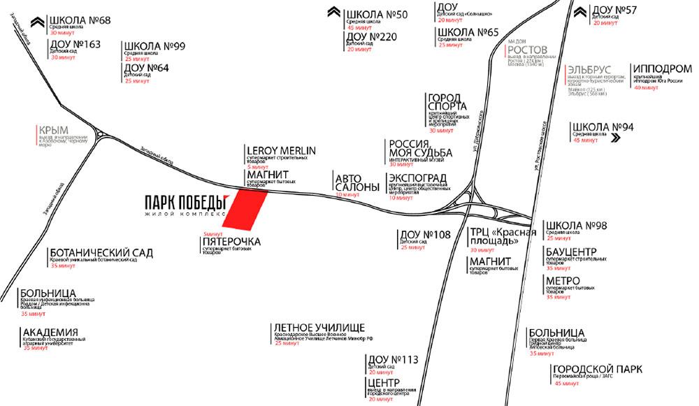 Карта ЖК Парк Победы